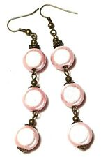 Very Long Bronze Pink Miracle Bead Earrings Drop Dangle Antique Vintage Style