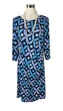 LEONA EDMISTON Dress - Floral Geometric Print Navy Blue Tunic Shift Zip - 12/14