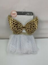 Gold Glitter Angel Wings W/Tutu Skirt Baby 0-12 mths Costume Photo Prop Birthday
