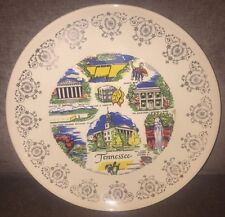 Vintage Tennessee State Souvenir Plate About 9 Inches Across Used