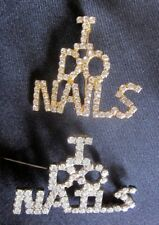 Lot of 2 I DO NAILS COSMETOLOGIST NAIL ARTIST Lapel PIN RHINESTONES Silver Gold