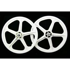"Skyway Tuff II old school BMX mag wheels 20"" wheelset freewheel 3/8' axle WHITE"