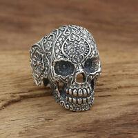 Huge Heavy 925 Sterling Solid Thai Silver Ring Men Biker Skull Size 8 9 10 11 12