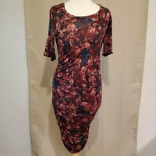 NWT Motherhood Maternity Side Ruched Red and Pink Floral Dress