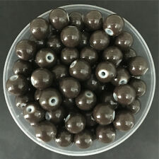 Wholesale 6mm 50PCS Brown Glass Round Pearl Spacer Loose Beads Jewelry Making