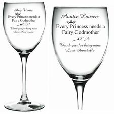 Personalised Engraved Wine Glass TINKERBELL Fairy Princess Prince Godmother