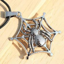 Man Hollow Out Spaider Shape Titanium Steel Leather Rope Charms Pendant Necklace