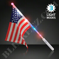 PATRIOTIC LED LIGHT UP USA FLAGS - 4TH OF JULY FLASHING FUN~