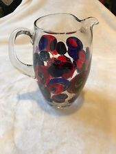 Collector Large Pitcher Hand-Painted & Enameled Blue & Red, Signed By Artist