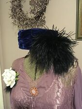 Womens Hats NEW Royal Blue Velvet lined Pill Box Hat Black feather 6-61/2 SMALL