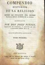 Compendio de Historia de la Religión, tomo primero. Don Josef Pinton