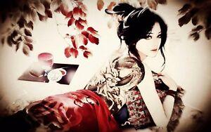Geisha Girl Dragon Tattoo Canvas Erotic Wall Art Poster Print Japanese Chinese