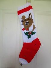 Vintage Large Hand Knitted Rudolph The Red Nosed Reindeer Christmas Stocking