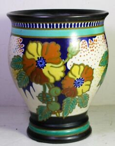 """Antique 1928 Gouda Plazuid PZH Vase #4244 Leaves & Flowers X-16 Signed Ina 9x7"""""""
