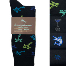 Tommy Bahama 4 Pair Casual Crew Dress Socks Palm Vibes Black Men's Socks