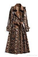 New Womens Leopard Print Sheepskin Leather jacket Trench Coat Slim Fit Outwear