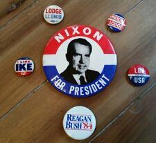 Vintage Lot NIXON FOR PRESIDENT Campaign Pins LODGE, IKE, LBJ, REAGAN, BUSH USA