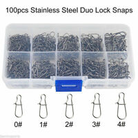 100pcs/Box Stainless Steel Duo Lock Nice Snaps Fishing Tackle Connector 0#-4#