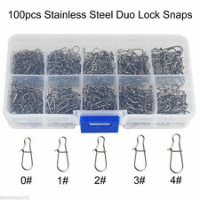 Stainless Steel Duo Lock Nice Snaps Fishing Gear Accessories BLACK SIZE 0#-4#