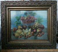 Vtg ORNATE Victorian LG Wood Frame Litho Friut Glass Compote Print Strawberries