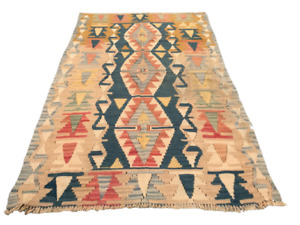 497 Turkish Kilim Rug Vintage Wool Anatolian Handmade Oushak Bohemian Area Rug
