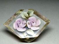 Vintage Reverse Carved Lucite Roses Flower Brooch