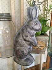 Primitive Antique Vtg Tin Style Easter Bunny Rabbit Silver Resin Chocolate Mold