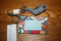 Vera Bradley TROPICAL EVENING ZIP ID & CARBON GRAY LANYARD  badge holder school