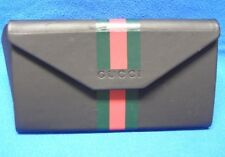 Gucci Triangular Soft Black Leather Eyeglasses Case w/ Green and Red Stripes