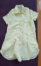 Built by Wendy light yellow cotton linen blend layered dress xs