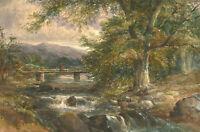 Frederick Davis (fl.1853-1892) - 1874 Watercolour, Figures on the Bridge