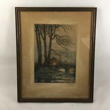 Vintage European Countryside Landscape Woodblock Print | Pen & Ink Signed 1953
