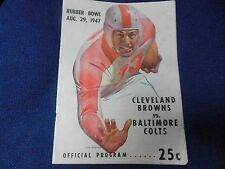 1947 AAF FOOTBALL PROGRAM CLEVELAND BROWNS BALTIMORE COLTS VERY RARE RUBBER BOWL
