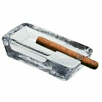 Handmade Heavy, Large Cigar Ashtray | Crystal Glass Clear for Outdoor Patio Pool