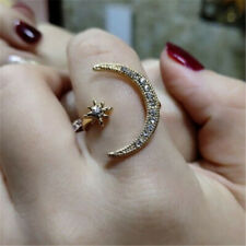 Fashion Women Crescent Moon & Star Ring Silver White Sapphire Jewelry Gifts