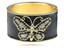 Golden Jet Black Faux Leather Crystal Rhinestone Butterfly Bracelet Bangle Cuff