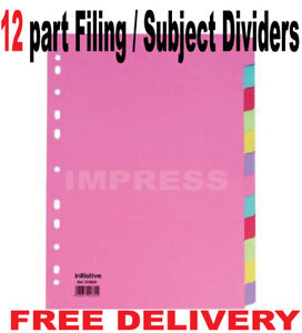 12 Part A4 Filing/Subject Divider-Index Ring Binder File Coloured Month Days etc