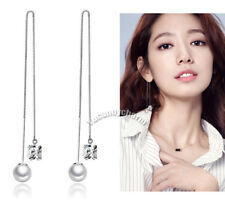 Face Slimming Made in Korea Pearls Princess CZ Dangle long Silver Post Earrings