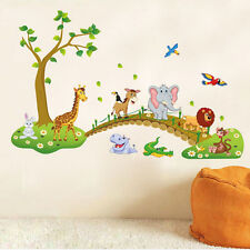 Large Jungle Animals Tree Wall Sticker Kids Nursery Decals Girls Bedroom Mural