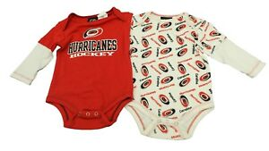 NHL Carolina Hurricanes Official Baby Infant 2 Piece Creeper Bodysuit w Sleeves