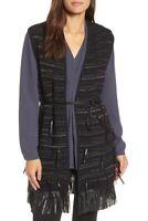 NIC+ZOE Women's Fuse Faux Leather Vest Sz L Black Gray Metallic Fringe NWT
