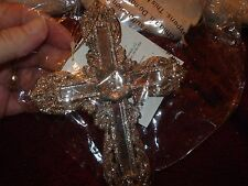 "Plastic Christmas Ornament Cross Gold Sparkles Filigree Design Mirrors 6"" NWT"