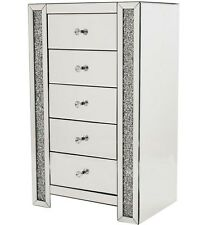 5 drawer glass mirrored diamond crush crystal tall chest 97cm/Bedroom/living