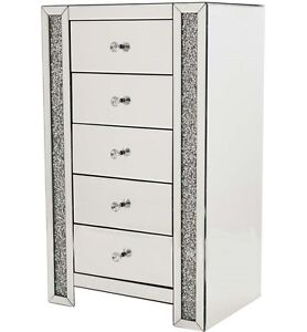 5 drawer glass mirrored diamond crush crystal tall chest 97cm/Bedroom/living