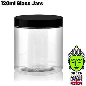 120ml Clear Glass Ointment Cosmetic Jars 62mm Black urea lids 7g Small Pot Lid