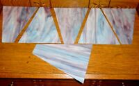 6 Antique Blue / Purple Slag Glass Lamp Shade Pyramid Panels