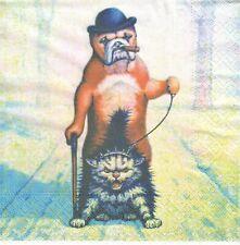 1 Lunch Papier Serviette Napkin (BP602) Rollentausch - Hund mit Katze an Leine