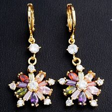 Gift Box Package Noble Multi-Color C.Z Gold Plated Big Size Flower Drop Earrings