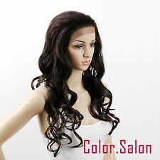 Nouveau !!! Lace Front Full Wigs Glue Free Synthétique Perruque Brun Foncé 26#4A