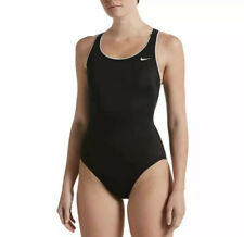Nike Women's Solid Powerback One Piece Swimsuit S Small Black/White NESS9360-006